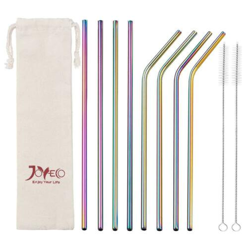 Joyeco Stainless Steel Drinking Straws Rainbow Multi-Colored Straw Reusable Dr