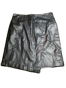 DKNY Womens Black Faux Leather Above The Knee Faux Wrap Evening Skirt Size: 8