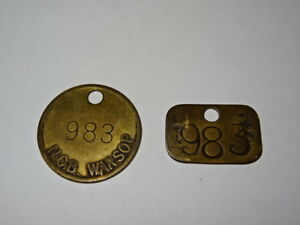 Pair-Of-Brass-Miners-Lamp-Pay-Check-Pit-Tally-Token-Warsop-Colliery-983