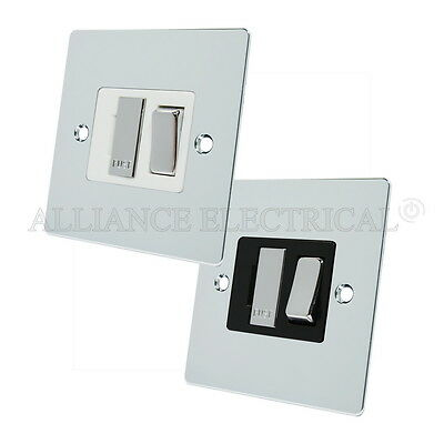 13 Amp Fused Connection Unit Brushed Satin Chrome Flat Unswitched Fused Spur