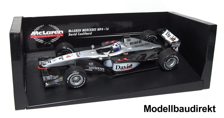 F1 McLaren Mercedes MP 4 16 D. eIaborate 2001 1 18 Minichamps 530011804 NUOVO & ov