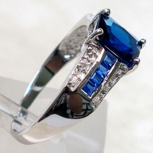 FANCY 1.5 CT SAPPHIRE 925 STERLING SILVER RING SIZE 5-10
