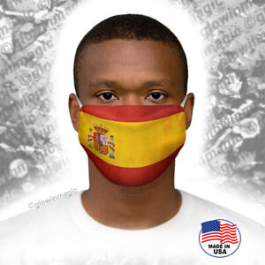 Spain-Flag-Face-Mask-with-Heraldry-Washable-reusable-soft-Free-shipping