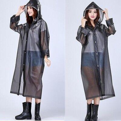 Women Black Hooded Transparent Raincoat PVC Waterproof Poncho Long Sleeve Coat