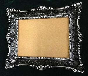 bilderrahmen schwarz silber antik rechteckig 56x46 barock 30x40 mit r ckwand ebay. Black Bedroom Furniture Sets. Home Design Ideas
