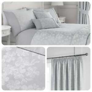 Serene-BLOSSOM-Silver-Floral-Jacquard-Matching-Bedding-Curtains-amp-Cushions