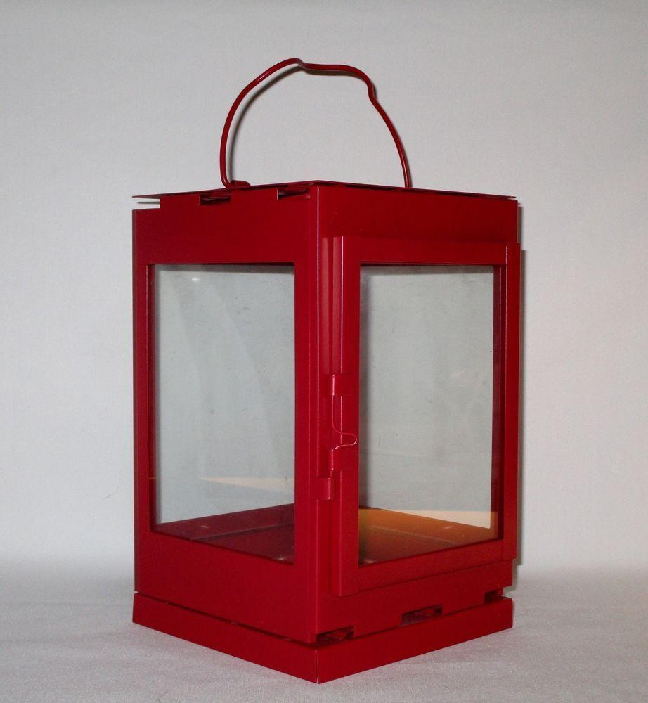 Ikea Snovita Red Lantern Candle Holder