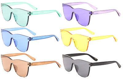 3 Pcs Funny Futuristic  Colored Mirrored Lens Wrap Single Sunglasses