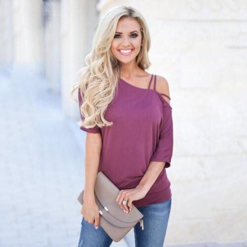 Damen Schulterfrei Bluse Cut Out T-shirt Sommer Fledermaus Shirt Tops Oberteil