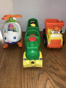 Fisher Price Little People Lot Of 3 Train Helicopter & Construction Vehicle Sets