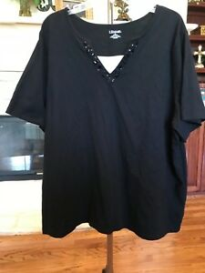 Womens Plus Size Blouse Black Beaded V Neck Ss Cotton By Catherines