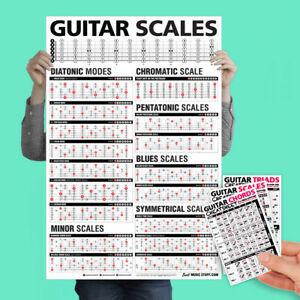 """Popular Guitar Scales Reference Poster 24/""""x36/"""" Guitar Cheatsheets Bundle"""