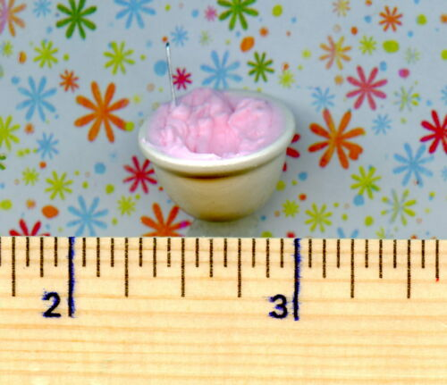 Dollhouse Miniatures Size White Glass Bowl of PINK Frosting being Stirred up !