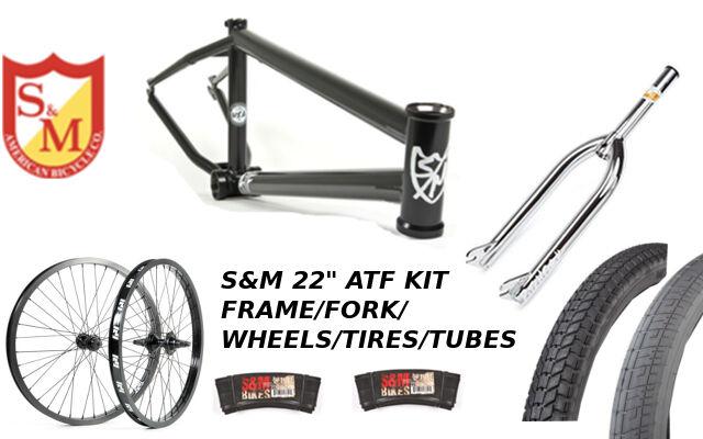 S&M 22 pulgadas ATF Marco 21.625 Negro Plano Cromo 22  Kit Ruedas Bicicleta Bmx Tenedores