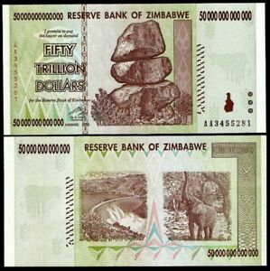 Zimbabwe 50 Trillion, AA/2008, P-90, UNC, 100 Trillion series (Zm50t)