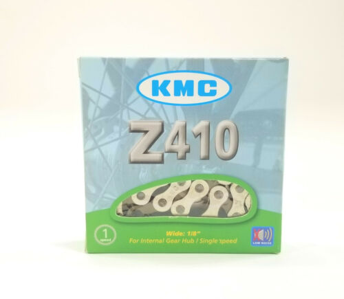"KMC Z410NP BK BIKE CHAIN 1//2/""x1//8/"" 112L SINGLE SPEED BMX FIXED Z410 SILVER BLACK"