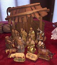 Huge LOT ANRI KUOLT Vintage Nativity Manger Set Wood Creche BERNARDI Christmas