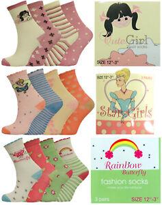 3-Pairs-Girls-Socks-Polyester-Rainbows-Butterflys-Stars-5-CHILD-UK-Sizes