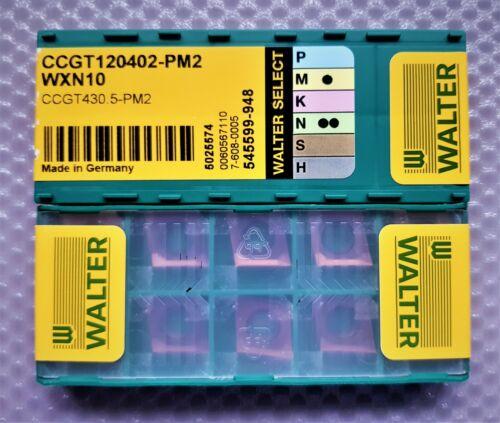 10x WALTER CARBIDE INSERTS CCGT 120402-PM2  CCGT430.5-PM2  Grade WXN10