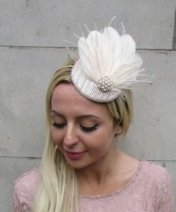 Cream Silver White Feather Pearl Pillbox Hat Fascinator Headpiece Races Vtg 9AG