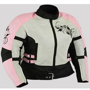 Rose-Mesdames-Moto-Veste-Moto-Pour-Femme-Toutes-Tailles-Moto-Veste-De-Protection