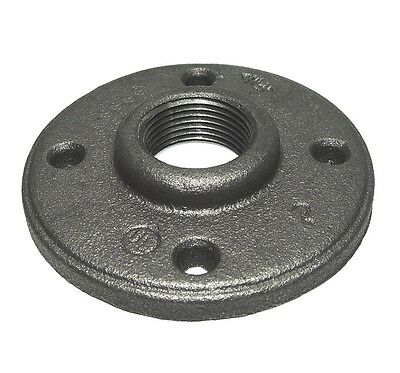 """1/2"""" INCH BLACK MALLEABLE IRON PIPE THREADED FLOOR FLANGE FITTINGS - P6665"""
