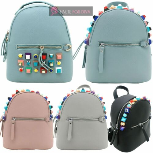 Faux que claro light New Stud Travel hay reconocer College Ladies Mochila 633 azul Multicolor Decoration gris Leather 658 no rosa Negro a5Uqg7xw