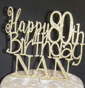 Image Is Loading Plain Or Glitter Happy 80th Birthday Nan CARD