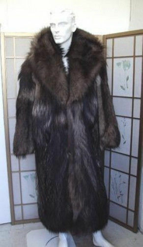 BRAND NEW ARCTIC COYOTE FUR COAT W/ HOOD MEN MAN