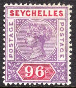 Seychelles-1890-mauve-carmine-96c-crown-CA-Die-I-mint-SG8