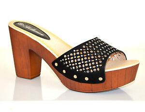 ZOCCOLI-NERI-donna-sandali-scarpe-tacco-alto-legno-eco-pelle-strass-plateau-E70