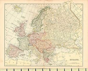 C1880 map europe france italy spain norway denmark british isles image is loading c1880 map europe france italy spain norway denmark gumiabroncs Images