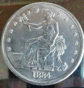 Old-Coin-1884-1-Trade-Dollar-Rare-Uncirculated-Iron-Silver-Plated-replica