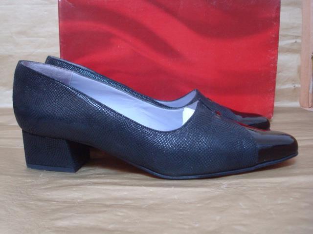 VAN DAL UK 5 1 2 D SONYA BLACK SUEDE & PATENT LOW BLOCK HEEL SLIP ON SHOES BOXED