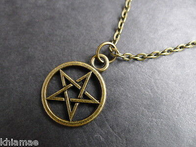"Bronze Pentacle 20"" chain necklace pendant pagan wiccan bronze pentagram"