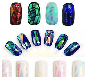 Nail-Art-Foil-Angel-Paper-Broken-Glass-Effect-Pink-Blue-Purple-Holographic