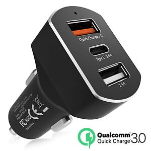 hot sale online 50ced b2f4b 3-Port USB Fast Car Charger 36W Quick Charge 3.0 USB-C F Apple ...