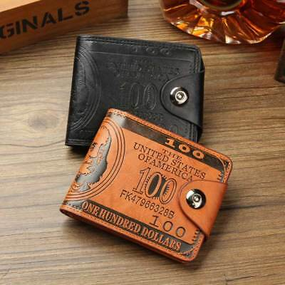 Men Dollar Bill Leather Bifold Card Photo Holder Wallet Handbag PU Coffee Purse