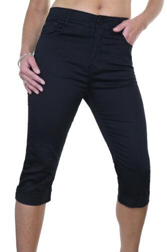 ICE Stretch Capri Cropped Turn Up Cuff Sheen Jeans Black Sizes 10-20 1511-1