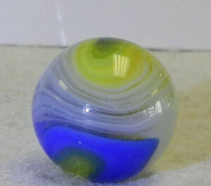 10016m Large .73 Inches Akro Agate Blue and Yellow Popeye Marble
