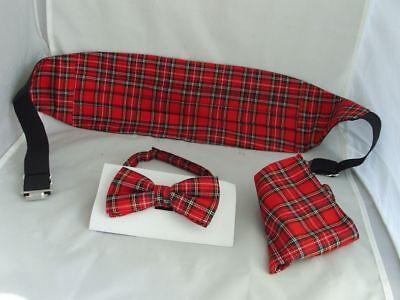 Burns Night/>TARTAN-Black//White Cummerbund+Plain Black /& White Bow ties+3 Hankies