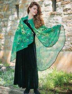 Victorian Trading Co Peacock Merlot Velvet Beaded Shawl