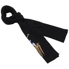 8359 Polo Ralph Lauren Mens Black Pony Merino Wool Rectangle Winter Scarf $60