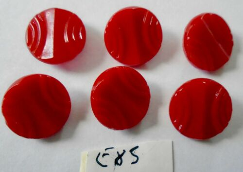 6 RED ART DECO STYLE DESIGN SMALL GLASS  BUTTONS E85
