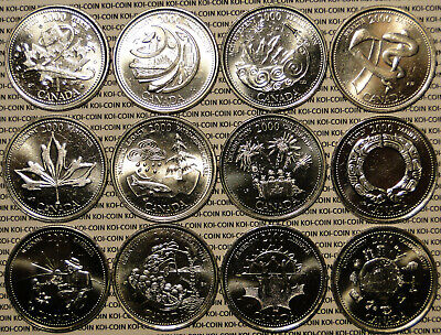 COMMEMORATIVE 25 CENTS 12 CANADA 1992 COMPLETE SET OF THE