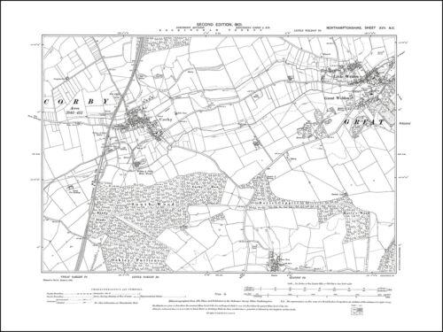 Great Weldon Corby Stanton north old map Northants 1901: 17NE repro
