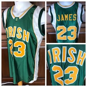buy popular 12f43 1e25a Details about Authentic Teamwork Lebron James Irish Jersey Vincent St Mary  High School Size XL