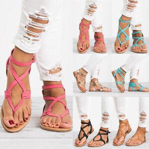 Womens-Gladiator-Roman-Flats-Flip-Flops-Beach-Ankle-Strap-Sandals-Open-Toe-Shoes