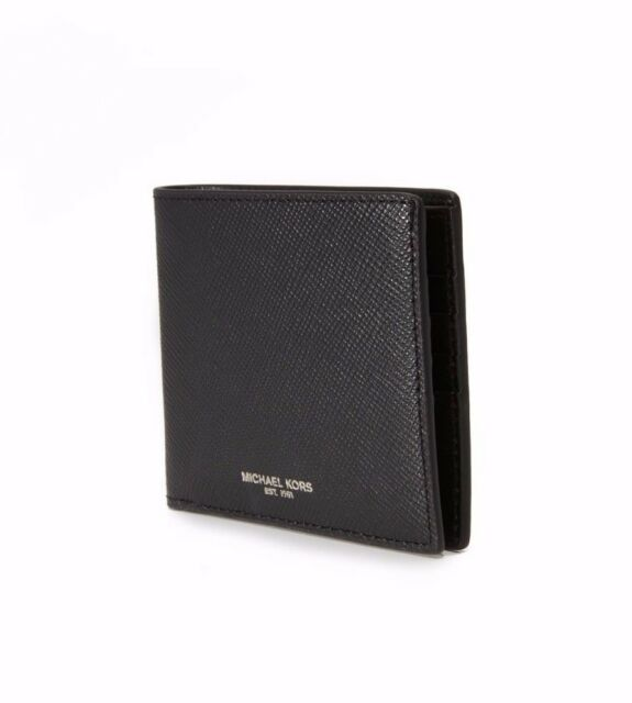 4076eeb79825  284 MICHAEL KORS Men BLACK RFID Jet Set Leather BiFold BILLFOLD 8CC SLIM  WALLET