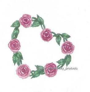 Heart Shaped Vine With Pink Roses And Leaves Temporary Tattoo Small